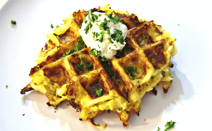 Potato Waffles with Hash Browns and Cheese