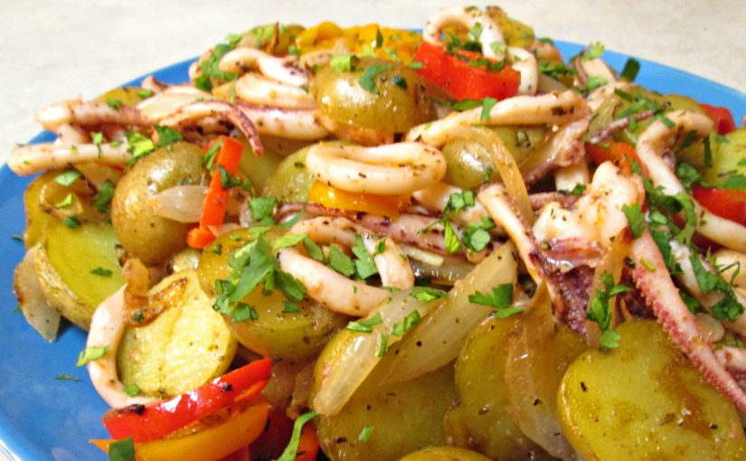 Sautéed Squid with Onions, Potatoes and Peppers