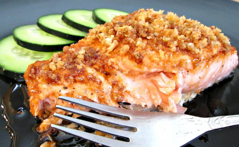 Pan Fried Salmon with Crusted Spicy Mayo and Eel Sauce